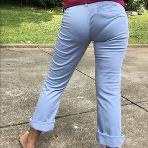 Baby blue pants with purple undertones